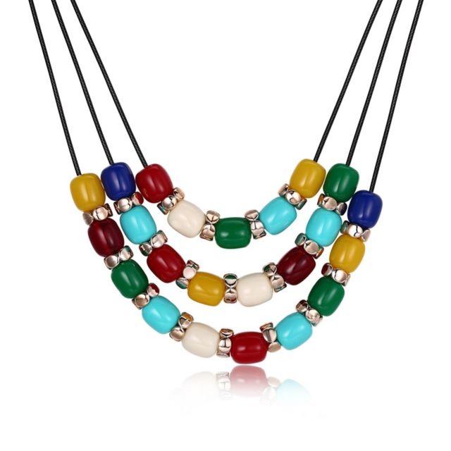 Marque Generique - Collier perles de couleur chaude de mode ...