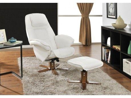 Vente-unique Fauteuil de relaxation et son repose pieds Eternity - Blanc ivoire