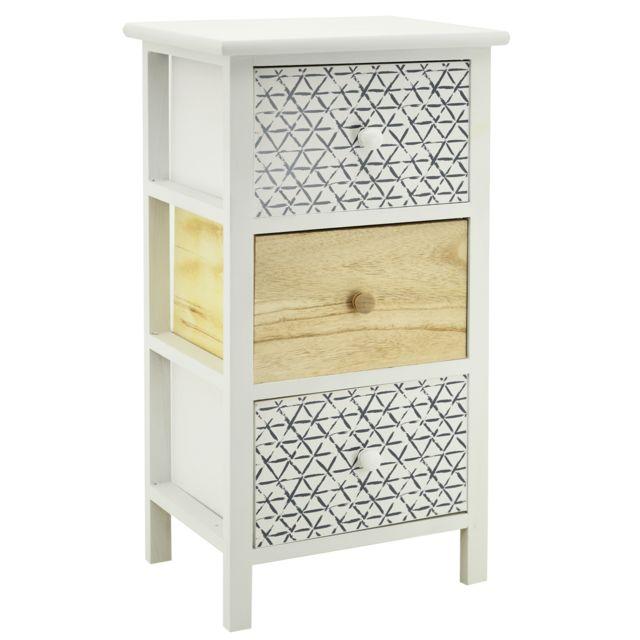 AUBRY GASPARD Commode en bois teinté blanc et naturel 3 tiroirs