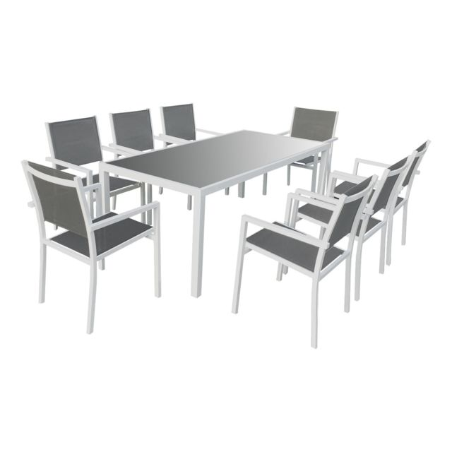 HAPPY GARDEN Salon de jardin BARI en textilène gris 8 places - aluminium blanc