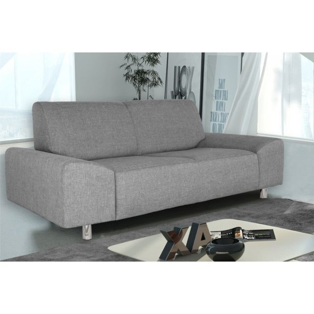 Rocambolesk Canapé Quick 2 savana 21 gris+pieds chrom sofa divan