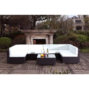 CONCEPT USINE - Bahru Noir/Blanc : grand salon de jardin en résine ...