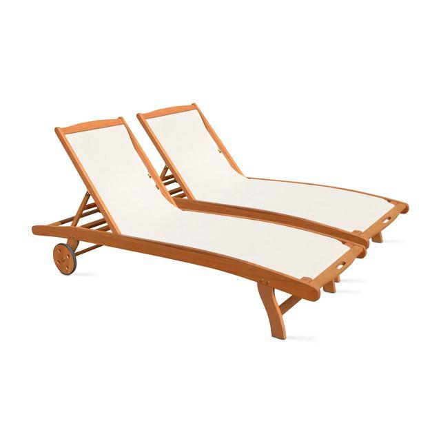 BOUTIQUE-JARDIN Bain de soleil en bois et textilène
