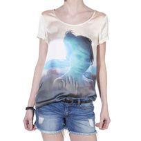 Only - T-shirt Grunge Bleu