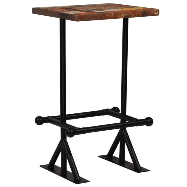 Vidaxl Table de Bar Bois Récupération Massif Multicolore 60x60x107 cm Maison