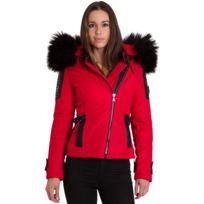 1c6c5825d59 Ventiuno - Belucci - Bellucci doudoune femme bi-matière rouge cuir d agneau  noir