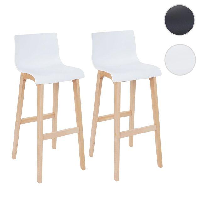 bas prix 5ce9e 6c2de 2x tabouret de bar Saskatoon, chaise de comptoir avec dossier, similicuir ~  blanc
