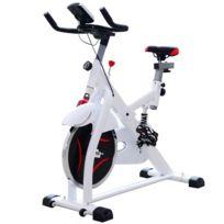 HOMCOM - Vélo d'appartement d'exercice professionnel écran de contrôle multifonction LCD blanc 69