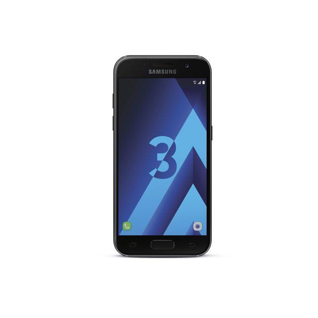 """Samsung Galaxy A3 2017 - Noir Débloqué et compatible tous opérateurs - Ecran tactile Super AMOLED 4,7"""" en 720 x 1280 pixels (312 ppp) - Corning Gorilla Glass - Android 6.0 Marshmallow - InterfaceSamsung TouchWiz - Processeu"""