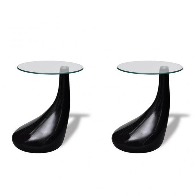 Casasmart Set de 2 tables basses plateaux en verre pieds noir