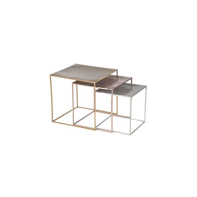 Set de 3 tables gigognes métal argent cuivre et or