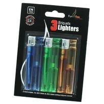 Belflam - Funflam Hl601 Tc5 - Lot de 3 briquets sous blister vert, bleu et orange
