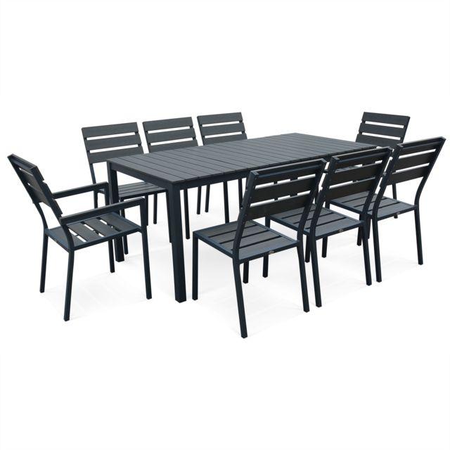 alice 39 s garden salon de jardin monaco en bois composite et aluminium table 180cm 6 chaises. Black Bedroom Furniture Sets. Home Design Ideas