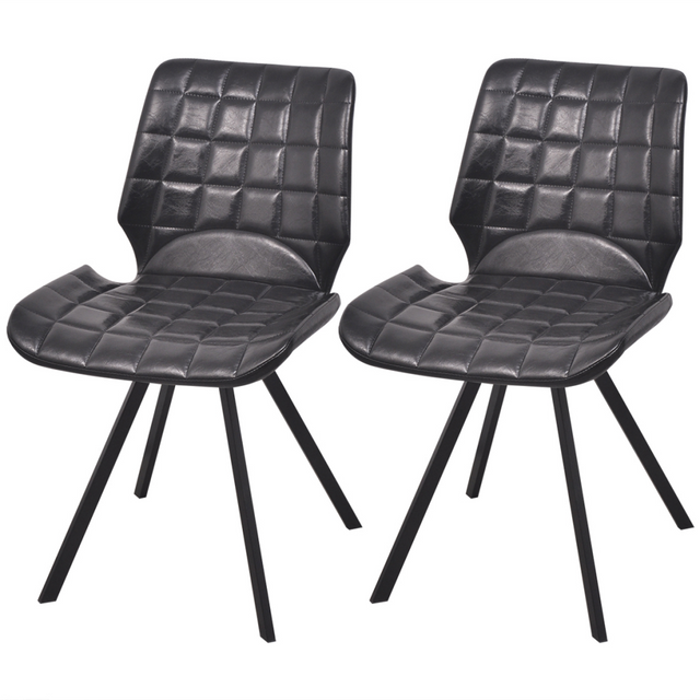Vidaxl Chaises de salle à manger en cuir artificiel 2 pcs Noir