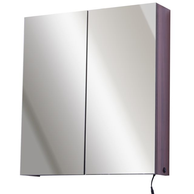 Armoire murale miroir salle de bain lumineuse LED 8 W 3 étagères dim. 63L x  14l x 68H cm panneaux particules noyer