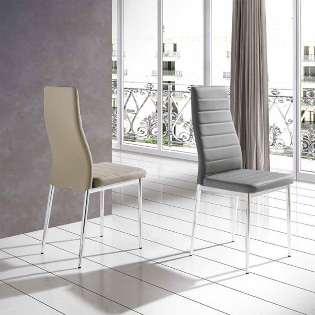 Nouvomeuble Chaise salle à manger taupe design Manon lot de 6