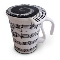 Totalcadeau - Tasse notes de musique en céramique mug avec couvercle