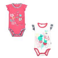 7f8509fbd575e Petit Beguin - Lot de 2 bodies manches courtes bébé fille Bla bla bla -  Taille