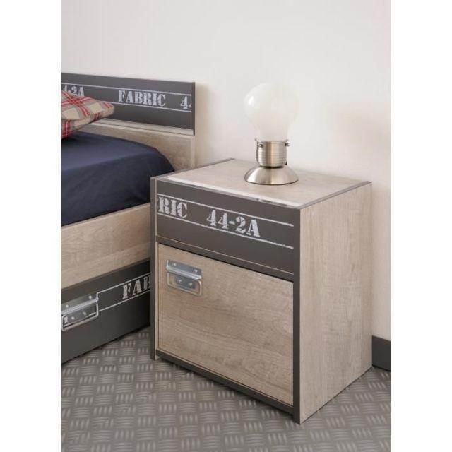 CHAMBRE A COUCHER COMPLETE NOA Chambre enfant complete - Industriel - Décor gris loft et ombre - l 90 x L 200 cm