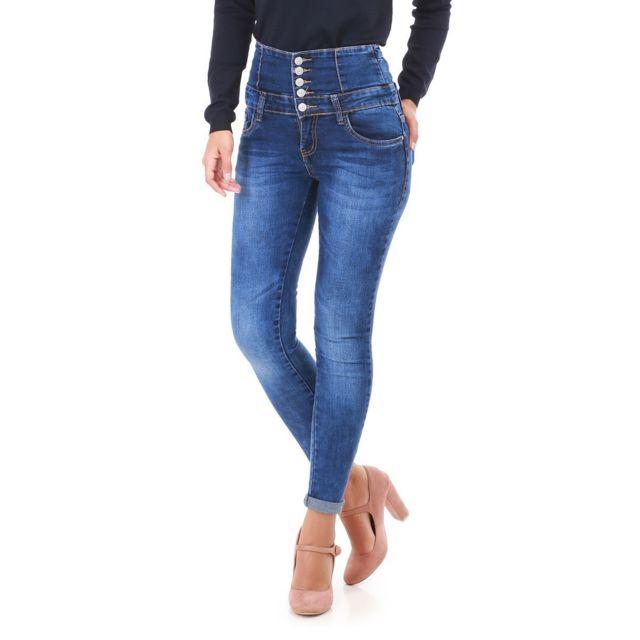 e9e589fdc5dc Lamodeuse - Jeans bleu taille haute à ceinture large - pas cher ...