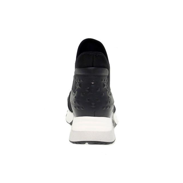 Ash Femme Laserstuds01 Noir Cuir Baskets Montantes pas