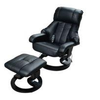 HOMCOM - Fauteuil de massage relaxation chauffage electrique repose-pied noir 71