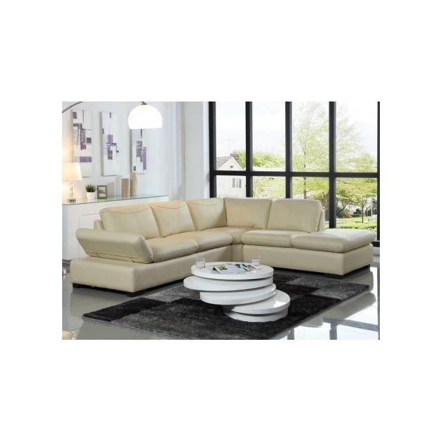 marque generique canap d 39 angle en cuir onyx ii ivoire angle droit 231cm x 268cm x 79cm. Black Bedroom Furniture Sets. Home Design Ideas