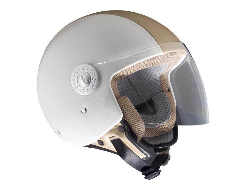 CASQUE STREET PILOT WHITE AND BEIGE LEATHER TYPE