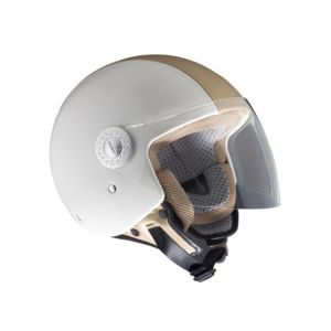 ROKX - CASQUE STREET PILOT WHITE AND BEIGE LEATHER TYPE