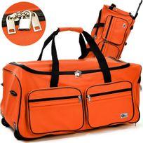 Rocambolesk - Superbe Grand sac de voyage trolley 100L avec roulettes - Orange sac transport & cadenas neuf