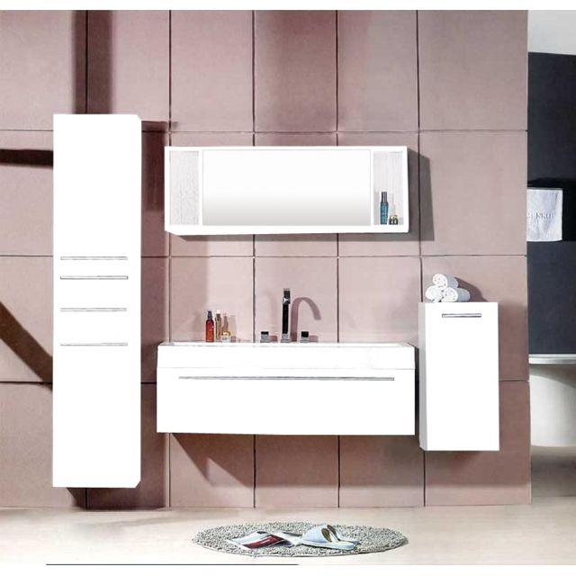 Concept Usine Agathe Blanc : ensemble salle de bain 3 meubles + 1 vasque + 1 miroir