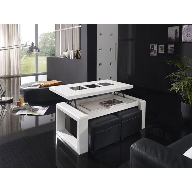 Sofamobili Table basse relevable blanc laqué brillant design Candela