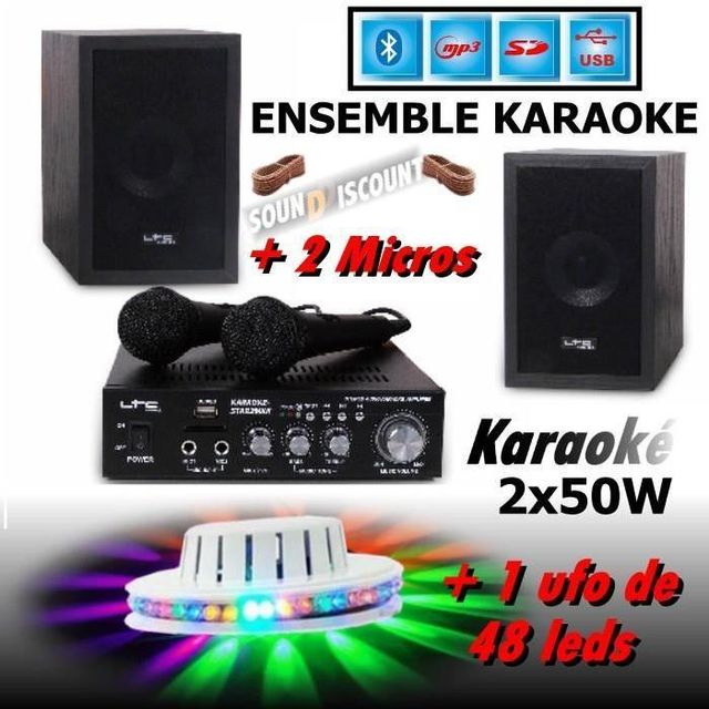 Ltc Karaoké enfants star2 mkii - usb mp3 sd bluetooth - jeu ufo led - 2 micros - 2 enceintes hifi - pa-dj