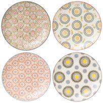 Table Passion - Assiette plate en céramique motifs bohèmes multicolores D.26cm - Coffret de 4 Panama