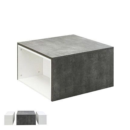 Table basse modulable effet béton - blanche
