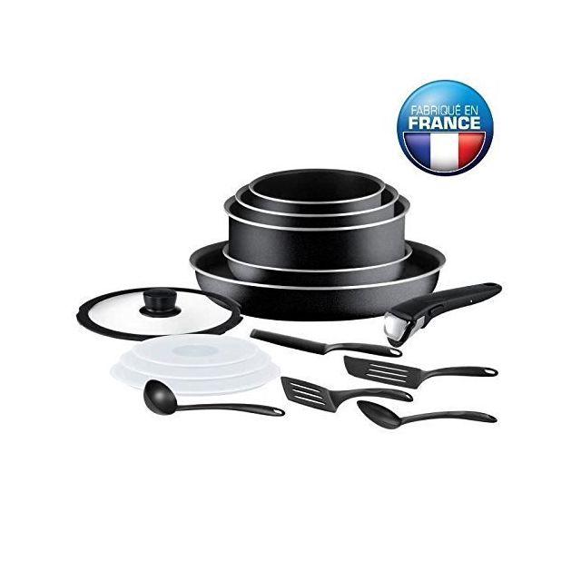 tefal ingenio essential batterie de cuisine 15 pieces l2009502 16 18 20 26cm noir tous feux. Black Bedroom Furniture Sets. Home Design Ideas