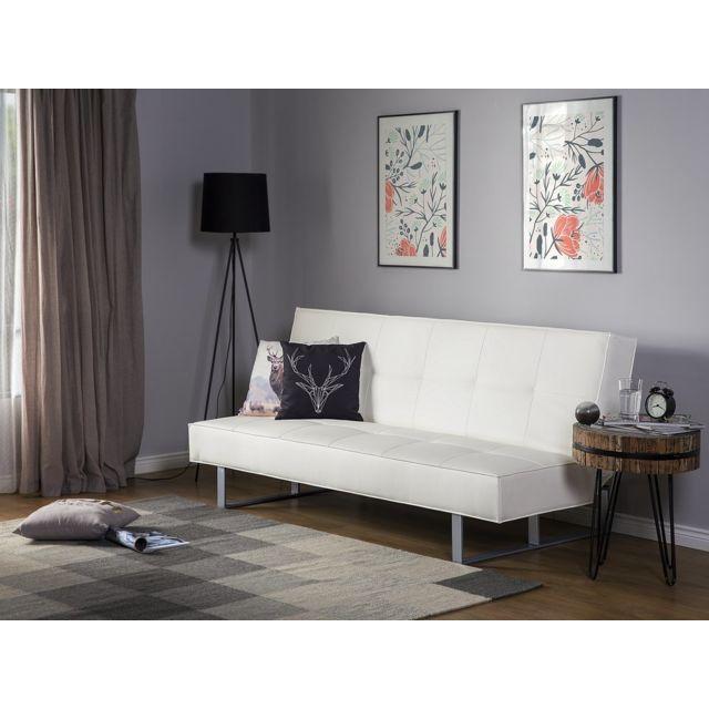 BELIANI Canapé-lit blanc 189 cm DERBY PETIT