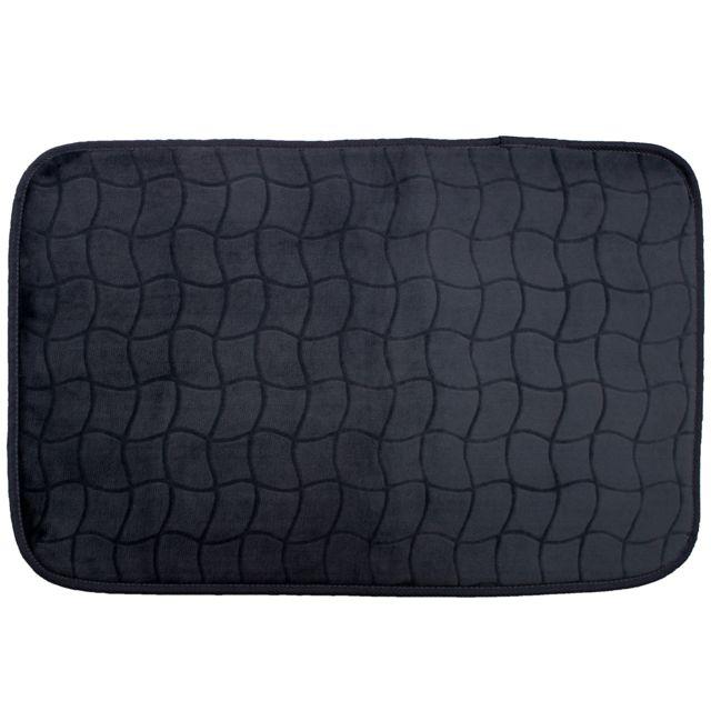 Linge Des Domes Cdaffaires Tapis rectangle 50 x 80 cm velours uni tomette Noir