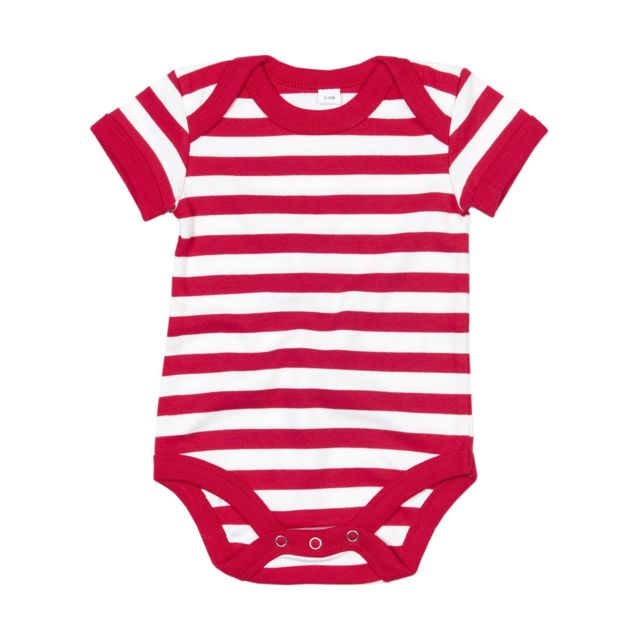 Babybugz - body bébé jambes manches courtes - Bz10S - rayé rouge et blanc 9c7e3030d3e