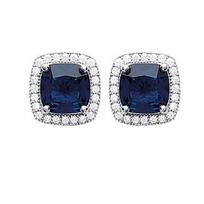 Collection Zanzybar - Boucles dâ oreille argent avec cabochon carré bleu serti de cristaux blancs, Modèle Diana