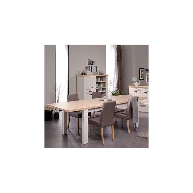 Table à manger 180x78x90cm en décor bois blanchi