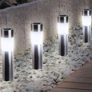 Idmarket balise solaire design inox x4 borne de jardin - Borne solaire jardin ...