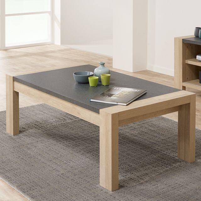 Nouvomeuble Table de salon couleur bois clair et ardoise Hermione
