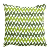 Hartman - Coussin carré extérieur imprimé pour le jardin, déhoussable 50 x 50 cm x H 16 cm, waterproof, motif chevron vert