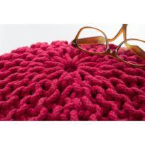 Deladeco - Pouf tricot en coton fait main rose Ulysse