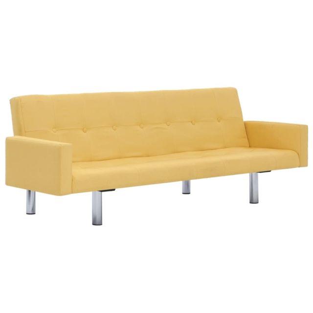 Icaverne - Canapés gamme Canapé-lit avec accoudoir Jaune Polyester