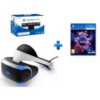 SONY - PlayStation VR Casque de réalité virtuelle + Caméra PS4 V2 + VR Worlds - PS4