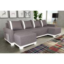 Sofa Story - Canapé d'angle convertible Light U Gris / Blanc