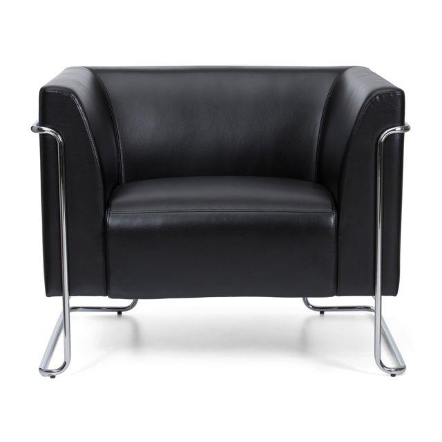 HJH OFFICE Divan lounge CURACAO similicuir 1 place noir