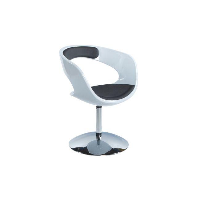 Fauteuil design 57x64x81cm Kirki - blanc et noir